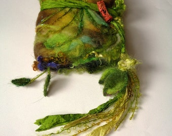 felted wool journal art book  - enchanted forest art diary - leaves berries stems moss ferns