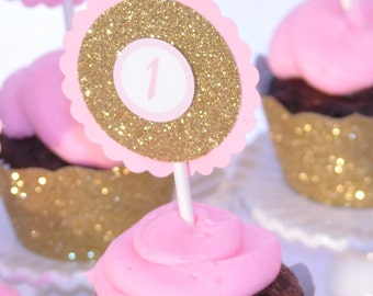Pink and Gold Cupcake Toppers and Gold Cupcake Wrappers, Gold and Pink, Personalized Cupcake Toppers, Pink Cupcake Toppers, Pink Party Decor