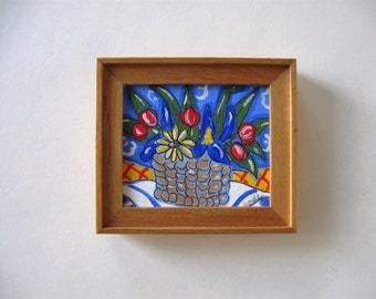 Minature acrylic painting on canvas, Original framed art, basket, daisiy, tulips, iris, red, yellow, blue, French Country decor, gift idea