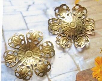 8 pcs brass filigree flower cabochon settings , charm, pendant