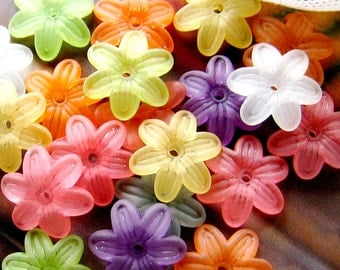 60 ps - 14mm - FROSTED assorted six petals flower beads/charms (FL054-Ass)