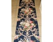 On SALE - Elegant Vintage Cotton Barkcloth Era Fabric Huge Lush Roses Tulips Lilies