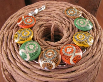 Fall Jewelry - Button Jewelry - United Automobile Workers - Upcycled 1938 UAW Pinback Bracelet - Orange, Yellow, Green, Brown
