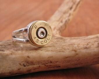 Bullet Jewelry - Sterling Silver Split Shank Brass 45 Colt Bullet Casing Ring - Bullet Ring for Her - Gun Jewelry - Sterling Silver Ring