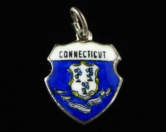Charm, Connecticut State, Sterling Silver, Blue Enamel, Traveler Shield,Hartford, Waterbury United States, State Charm