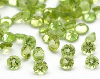 5mm TWO Faceted Peridot Gemstones Bright Spring Green