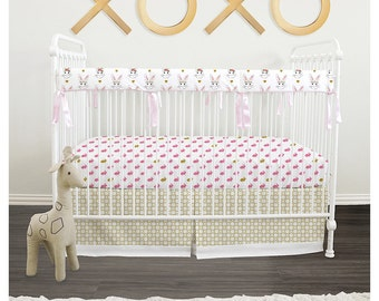 Baby girl crib Bedding 3pc set with Italian Oeko-Tex trim // Bunnies & Gold // Ready To Ship (RTS)