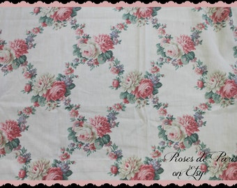vintage barkcloth era drapes 4 avail  Romantic wreaths of pink roses  lattice look  RARE pattern  Gorgeous curtains!