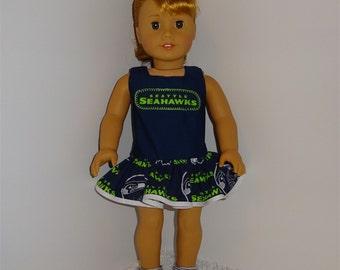 Seahawks Cheerleading Dress, Fits 18 Inch American Girl Dolls