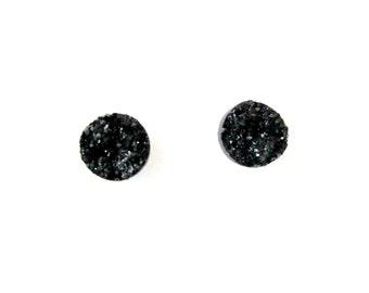Black Faux Druzy 12 mm Earrings