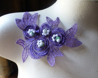Violet Plum Beaded Lace Flower Applique in Organza for Lyrical Dance, Garments, Costumes CA 615vp