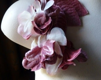 Rose Blush Velvet and Organza Flowers for Bridal, Headbands, Hats, Sashes, Boutonnieres, Corsages MF 78