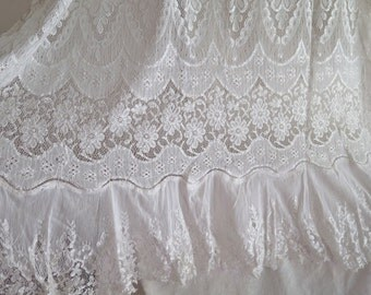 "Vintage Lace Curtain Panel with Flounce/Ruffled Hem Mercerized Cotton Lace in Light Ivory 72"" x 32"" Wide"