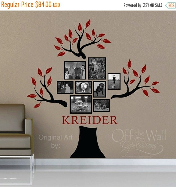 ON SALE Family Tree Decal - Personalized with family name - Genealogy family tree