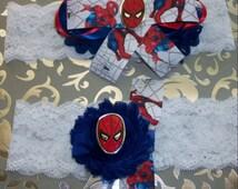Wedding Garter,Spiderman Garter,Spiderman Super Hero Garter, Lace Garter, Garter,Comie Con Garter,Something Blue Garter,Plus Size Garter