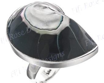 Black Nautilus Shell 925 Sterling Silver Adjustable Sz 6 Ring