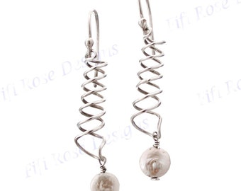 "1 7/16"" White Freshwater Pearl Sterling Silver Earrings"