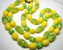 Mad Men Lemon and Lime Necklace, 2 Strands of Fabulous Yellow Green  Textured Happy Snappy Colored Plastic MOD Beads, 1960s
