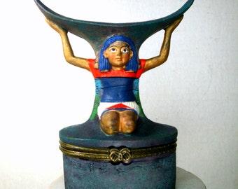 Egyptian Revival Trinket Box, Kneeling Slave, Pyramids n Sphinx Treasure Inside, Resin, Hinged Box, 1990s