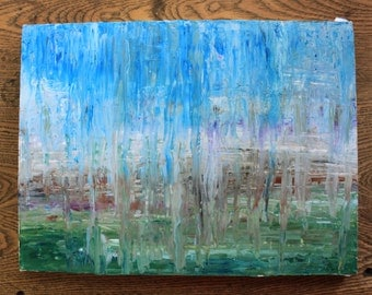 """Original Abstract Acrylic Painting, """"Through A Glass Dimly"""" 12in x 16in"""