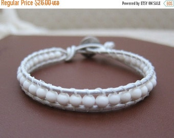 ON SALE Leather Wrap Bracelet with White Agate