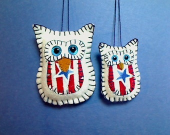 Americana Owl Ornament Set | Owl Decor | Independence Day | Holidays | Folk Art | Red White Blue | Tree Ornaments | Patriotic | Handmade  #1