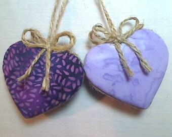 Purple/Lavender Batik Heart Ornaments   Birthday   Party Favors   Wedding/Bridal   Tree Ornament   Valentine's Day   Set/2   Handmade   #1