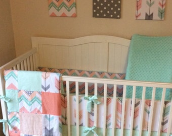 Peach Gray Coral and Mint Arrows Crib Bedding Set Bumper Skirt Quilt ONLY