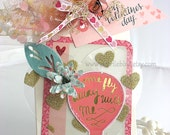 Pink Hot Air Balloon XL Deluxe Art Gift Tag~birthday gift tag~cream~pink~gold~blue~hang tags~gift bag swag~pretty packaging~valentine tag