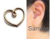 Gold Daith Heart Earring Daith Piercing Migraines Piercing, One (1) Single 20gauge or 18gauge