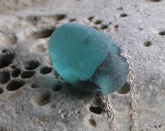 Rare Sea Green Sea Beach Glass Sterling Silver Pendant Necklace (717)