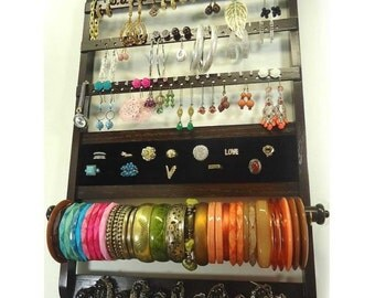 Jewelry Organizer Earring Holder, Gorgeous Ring Display Bracelet Storage Necklace Rack, Cocoa Brown Stained, Wall Mount Deluxe, Oak Hardwood