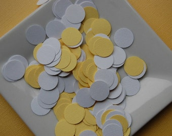 Yellow and White 3/4 inch Circle, Baby Shower, Party Confetti - 200 pieces - Ready to Ship