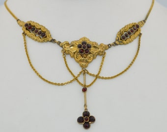Georgian Garnet & Sterling Silver Vermeil Necklace