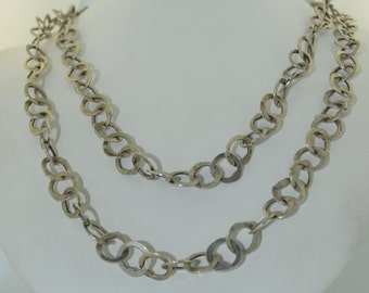 French Sterling Silver Hand Wrought Long Chain Necklace 1970's