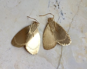 Large Moth Earrings. Brass Moths. Hand Staped Insect Earrings. Gold Filled Earwires. Large Metal Earrings. Wings. Wing Earrings. Detailed.