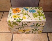 Garden Flower Tin Recipe File Box