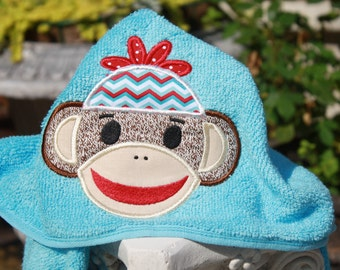 Hooded Sock Monkey Towel for beach bath or play Embroidered name