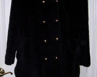 Black faux fur coat - 1960s vintage