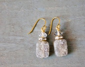 Raw Laboradite and Crystal Drop Earring