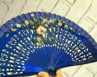 Vintage Hand Painted Asian Chinese Japanese Blue Hand Fan Pierced Design