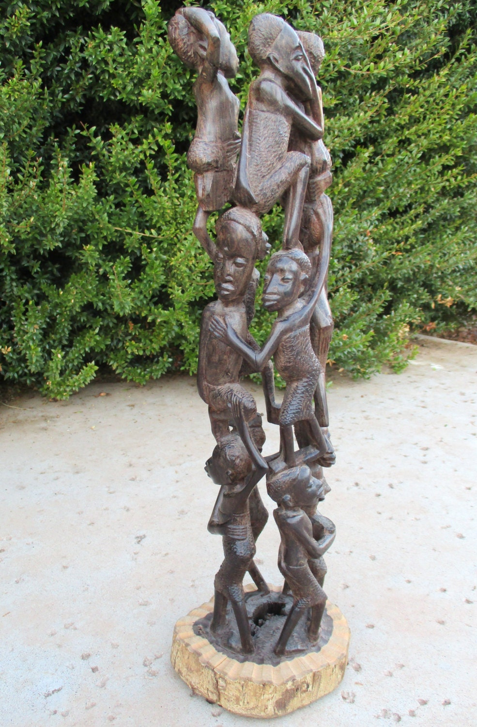 African figures hand carved family tree makonde wood carving