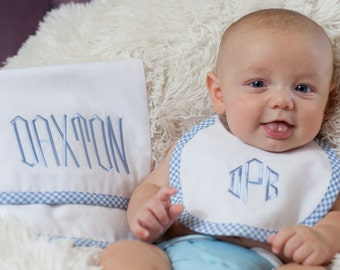 Baby Boy Girl Monogrammed Linen and Gingham Bib and Burp Cloth Baby Gift Set, Linen Bib & Burp Cloth, Newborn Boy Girl Gift, Shower Gift LDM