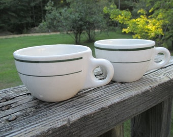Vintage Buffalo China Coffee Cup--Set of 2--Retro Restaurant Ware--Diner China--Cozy Kitchen--Fifties Coffee Mug--White Green Strip