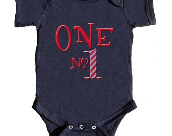 First Birthday Bodysuit Boys 1st Birthday Romper Number ONE romper. By Mumsy Goose choose size