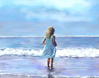 "Girl Art Beach House Art Print Beach Art Little Girl Blonde Girl Wall Art Print Decor Children Art Playing Ocean""Sweetness On The Beach"""