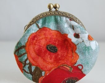 Poppies Coin Purse Change Pouch with Metal Kiss Lock Clasp Frame - READY TO SHIP