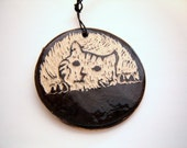 Tabby Cat Ornament Kitten Black and White Sgraffito Pottery Hanging Décor