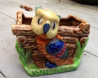 1930s figural planter with cute owl - charity for animals