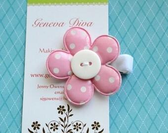 Pink Polka Dot Vinyl Flower Clip